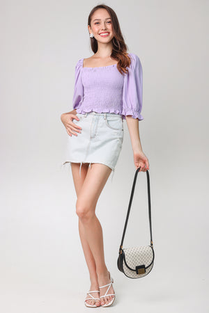 Aristocrat Smocked Top in Lilac