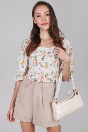 Aristocrat Smocked Top in White Florals