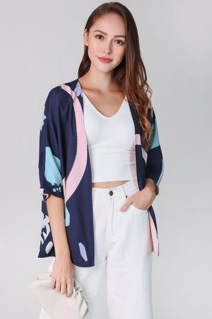 Contemporary Art Kimono Jacket in Navy (Reversible)