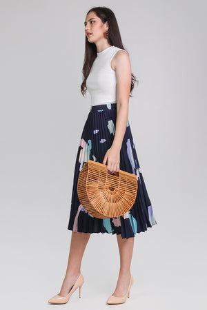 Contemporary Art Pleated Skirt in Navy