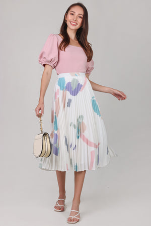 Contemporary Art Pleated Skirt in White