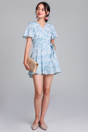 Restocked* Artful Affair Romper in Sky