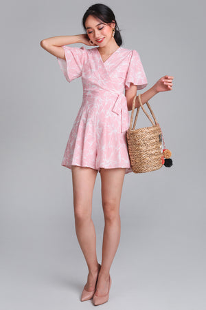 Restocked* Artful Affair Romper in Pink