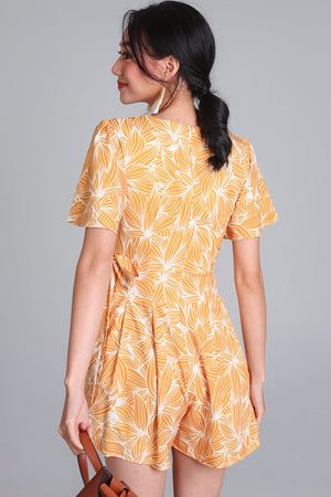 Restocked* Artful Affair Romper in Yellow