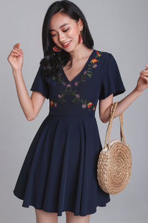Aster Floral Embroidered Dress in Navy