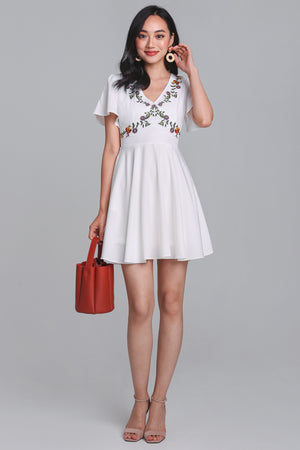 Aster Floral Embroidered Dress in White
