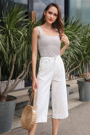 Ave Wide-Leg Denim Culottes in White