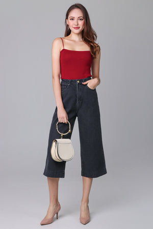 Ave Wide-Leg Denim Culottes in Black