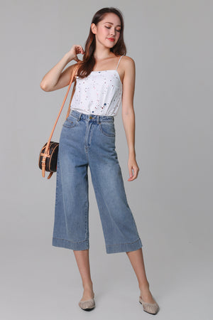 Backorder* Ave Wide-Leg Denim Culottes in Mid-wash