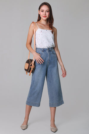 Restocked* Ave Wide-Leg Denim Culottes in Mid-wash