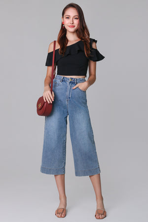 Ave Wide-Leg Denim Culottes in Mid-wash