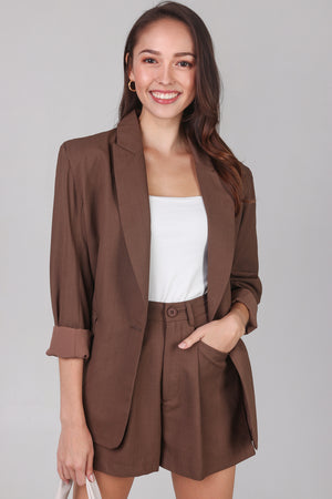 Backorder* Ellis Boyfriend Blazer in Chocolate