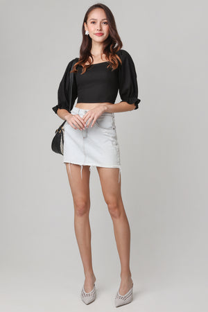 Beverly Balloon Sleeve Top in Black