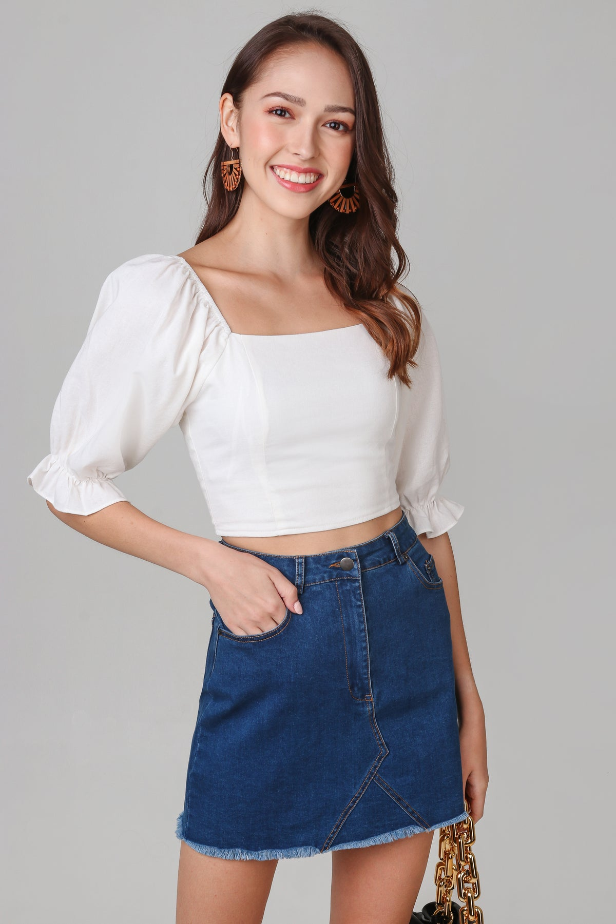 Beverly Balloon Sleeve Top in White