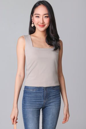 Backorder* Basic Cotton Square Neck Top in Khaki