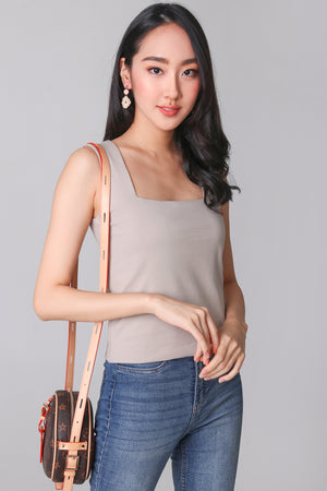 Basic Cotton Square Neck Top in Khaki