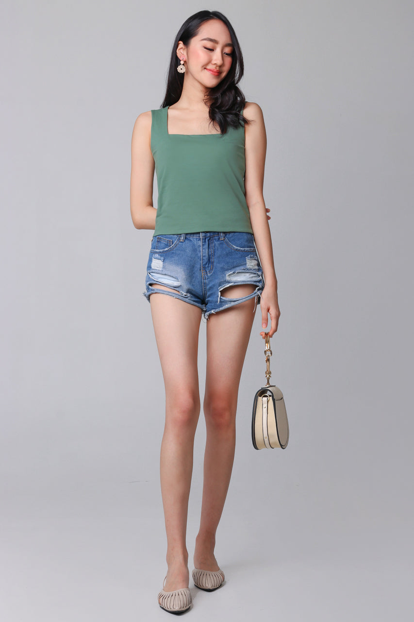 Backorder* Basic Cotton Square Neck Top in Pine Green