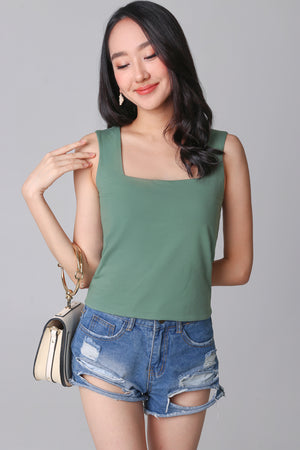 Restocked* Basic Cotton Square Neck Top in Pine Green