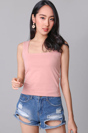 Backorder* Basic Cotton Square Neck Top in Peach Pink