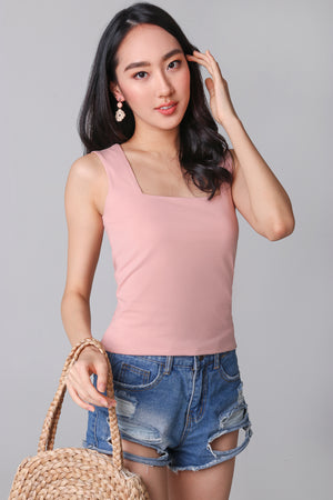 Restocked* Basic Cotton Square Neck Top in Peach Pink