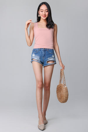 Basic Cotton Square Neck Top in Peach Pink