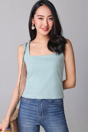Basic Cotton Square Neck Top in Sage