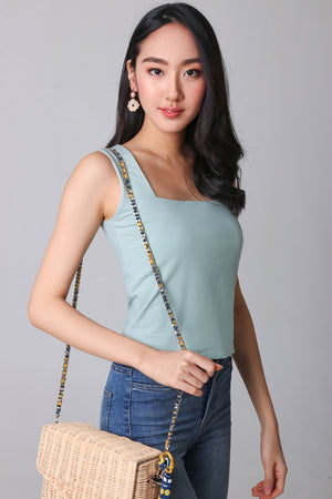 Restocked* Basic Cotton Square Neck Top in Sage
