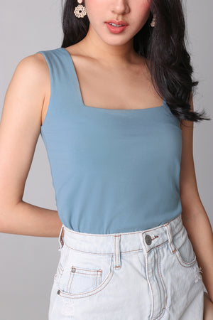 Restocked* Basic Cotton Square Neck Top in Seafoam