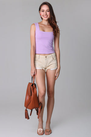 Basic Cotton Square Neck Top in Lilac