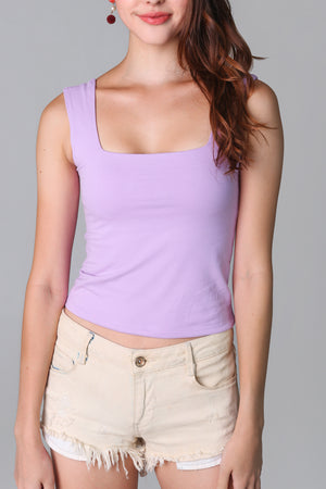 Restocked* Basic Cotton Square Neck Top in Lilac