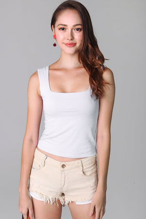 Basic Cotton Square Neck Top in White