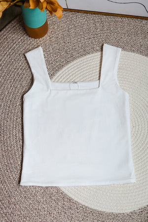 Restocked** Basic Cotton Square Neck Top in White