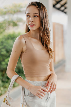Izzie Square Neck Cropped Top in Toffee