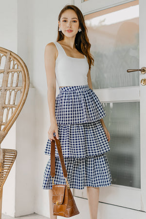 Windsor Tier Midi Skirt in Navy Gingham