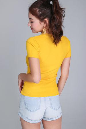 Ribbed Tee Top in Yellow