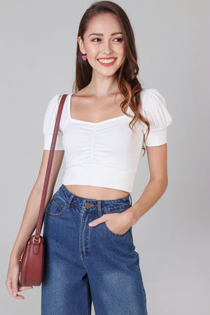 Pouf-Sleeve Sweetheart Top in White