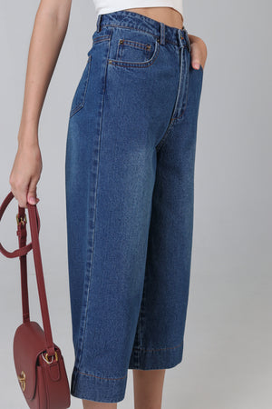Ave Wide-Leg Denim Culottes in Dark Wash