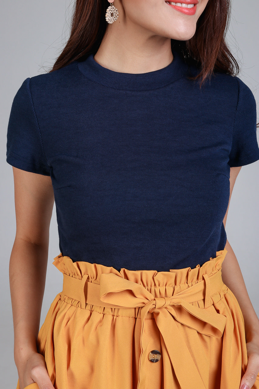 Basic Tee Top in Navy