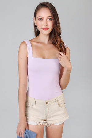 Tessa Square Neck Bodysuit in Pale Lilac
