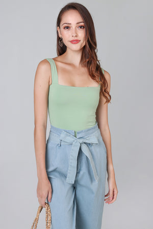Tessa Square Neck Bodysuit in Pistachio
