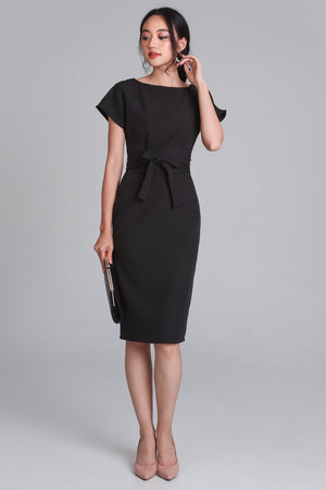 Restocked* Flaunt Obi Shift Dress in Black