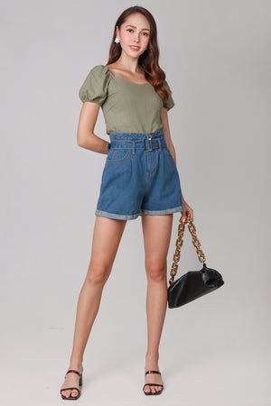 Belted Denim Shorts in Dark Wash