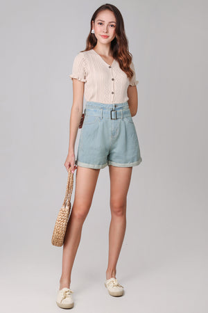 Belted Denim Shorts in Light Wash