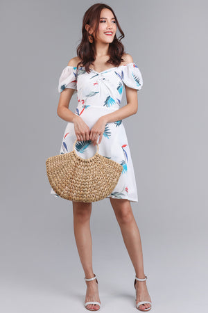 Birds Of Paradise Dress in White