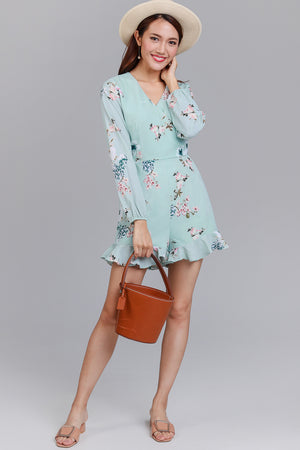 Blooming Petals Ruffle Hem Playsuit in Mint