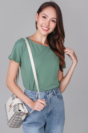 Basic Boat Neck Tee in Pine Green