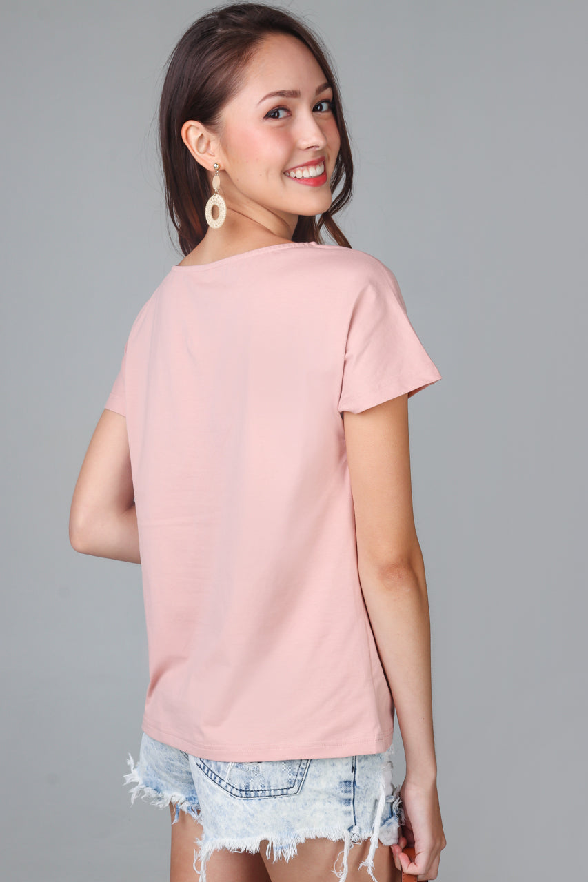 Basic Boat Neck Tee in Peach Pink