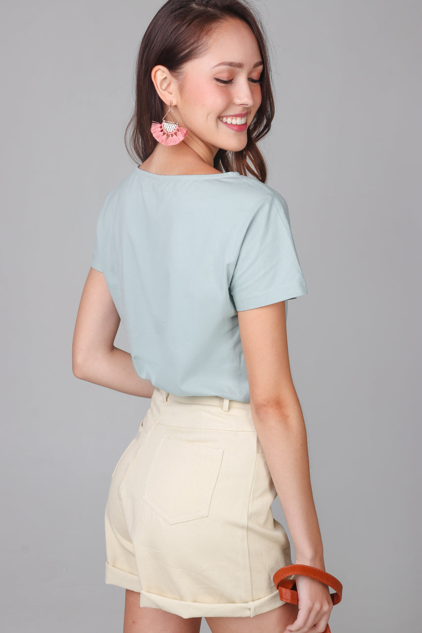 Basic Boat Neck Tee in Sage