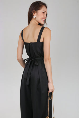 Mila Box Pleat Jumpsuit in Black