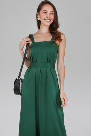 Mila Box Pleat Jumpsuit in Forest